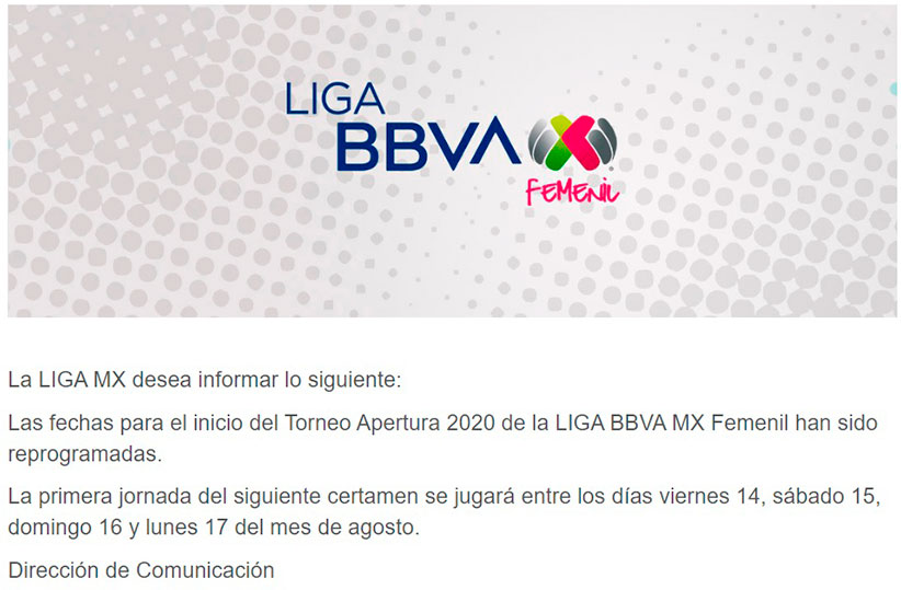 Liga MX Femenil aplaza el inicio del torneo